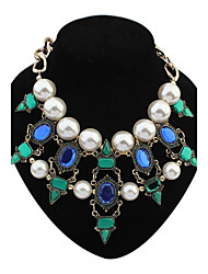 Women's EU&US Layers Pearls Beaded Geometric Cluster Bib Statement Necklace