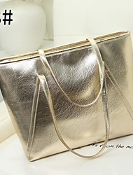 Women's Lady Fashion Metallic Leather Handbag Tote Shopper Bag