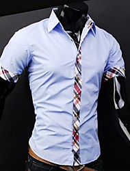 Reverie Men's Lapel Neck Check Pattern Short Sleeve Shirt