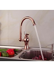 Contemporary  Rose Gold Finish Single Ceramic Handle Single Hole Brass  Kitchen Faucet