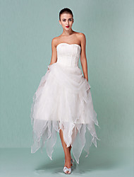 LAN TING BRIDE A-line Princess Wedding Dress - Chic & Modern Little White Dress Asymmetrical Sweetheart Organza with Draped