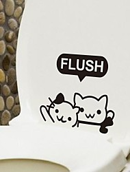 Cartoon The kitten Toilet Sticker