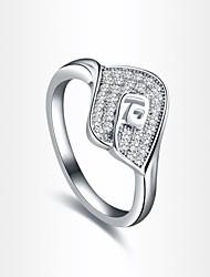 forma de folha de moda de prata das mulheres banhado anéis de instrução (1 pc)