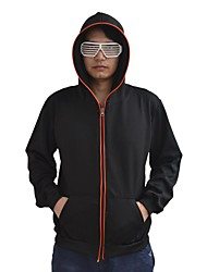 Men's Black Light Up Hoodie with Red EL Wire LED Glow Flashing Party Bar Raver Festival Long Sleeve 2AA Batteries
