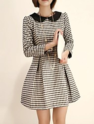 Women's Doll Collar Long Sleeve Woolen Dress