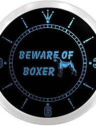 Beware of Boxer Dog Display Neon Sign LED Wall Clock