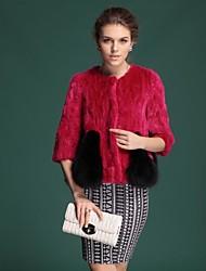 Zijindiao® Women's Genuine Fox Fur Splicing Mink Fur Coat