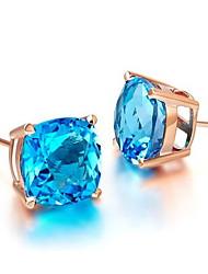 Arow Women's Gold-Plating Square Gem Earrings
