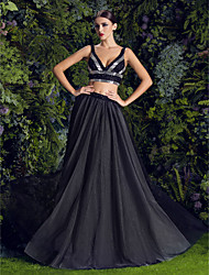A-line V-neck Floor-length Tulle Evening Dress (1828036)