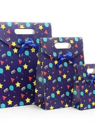 coway 3pcs as feliz infância estrelas azuis colagem dos desenhos animados bolsa de festa de presente de papel saco de moda set