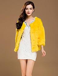 zijindiao® Frauen aus echtem Lammfell Spleißen Rabbit Fur Coat