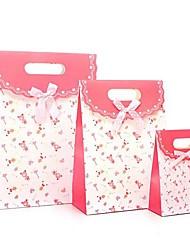 coway 3pcs rosa urso bolsa de colagem de fundo moda festa fresco saco de presente de papel conjunto