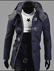 Reverie Men's Hoodie Bodycon Tweed Long Coat