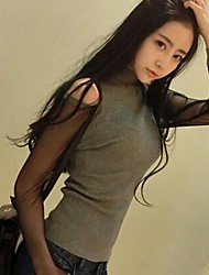 rosca manga gaze strapless t-shirt de manga comprida feminina