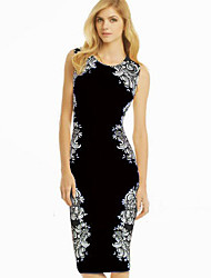 Melos Women's Round Neck Floral Print Pencil Dress