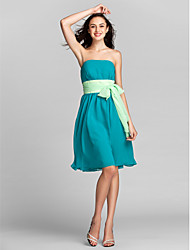 Lanting Bride Knee-length Chiffon Bridesmaid Dress A-line Strapless Plus Size / Petite with Sash / Ribbon