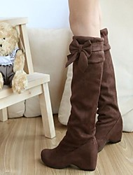 Women's Spring Fall Winter Fashion Boots Faux Suede Dress Wedge Heel Bowknot Black Brown Yellow Beige