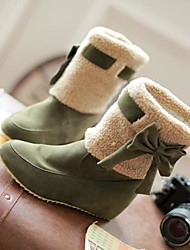 Women's Shoes Round Toe Wedge Heel Flocking Mid-Calf Boots with Bowknot More Colors available