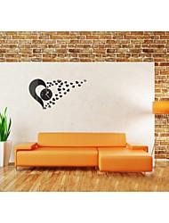 Modern Style Acrylic Heart Mirror Wall Clock