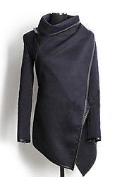 Women's High Neck Asym Hem Wool Coat