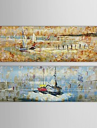 IARTS®Hand Painted Oil Painting Abstract Sailing Boat on the Sea with Stretched Frame Set of 2