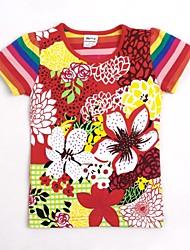 t shirt flores globais da menina impresso camiseta listras manga curta para as crianças de verão t-shirt impressão aleatória