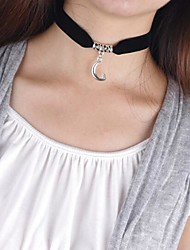 temperamento simples veludo preto bússola lua símbolo da paz colar das mulheres