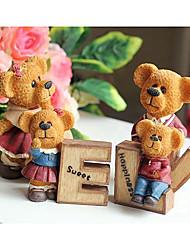 cuatro lindo famiy amor oso de juguetes de los animales de resina decoración de la habitación