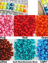 Approx 100PCS 8x9MM Pearlescent Pony Beads Rainbow Color Loom Bracelet DIY Accessories(Assorted Color)