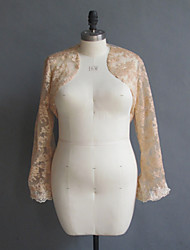Wedding  Wraps Coats/Jackets Long Sleeve Lace Champagne Wedding / Party/Evening / Casual Bell Sleeves Open Front