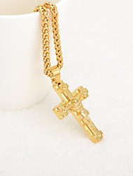 Fashion Style Gold Plated Gold Pendant Jewelry For Men Women Perfect Long Chain Cross Jesus Necklace