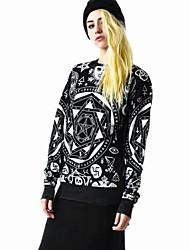 de las mujeres tops impresión suéteres sueltos sudadera t-shirt