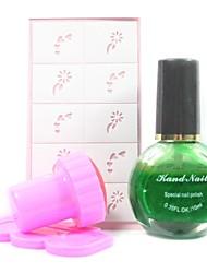 4PCS DIY Nail Art Stamping Kits(Green Stamping Polish & Random Pattern Stamping Image Template)