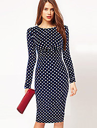 Para Women's Vintage Slim Dots Long Sleeve Dress