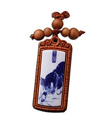 Duo Ji Mi ®Zodiac Pig Rosewood Key Chain Of Blue And White Porcelain
