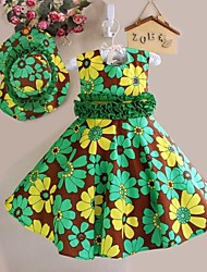 Girls Dress+ Hat Green Floral Cute Party Pageant Beach Princess Children Clothes
