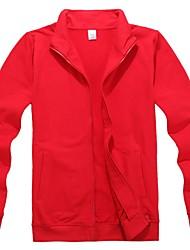 Solid Standing Collar Zipper Front Outwear