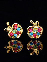 U7 Cute Apple Stud  Earrings 18K Gold Platinum Plated for Women High Quality