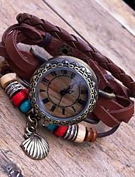 Women's Retro High Quality Shell Leather Quartz Movement Bracelet Watches