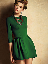 Women's Solid Color Blue / Red / Green Dresses , Casual / Work Round ¾ Sleeve