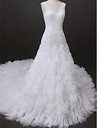 Lanting Fit & Flare Wedding Dress - Ivory Cathedral Train V-neck Tulle