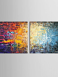 Oil Paintings Set of 2 Modern Abstract Color Bricks  Hand-painted Canvas Ready to Hang