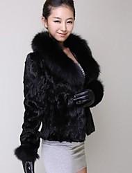 abrigo de pelo de conejo cuello coreano de piel imitación zorro imitación de visón abrigo de piel de las mujeres