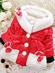 Girl's Red Bow Winter Coat Kids Cute Warm Hood Cotton Padded Jacket