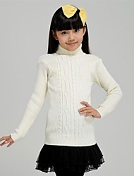 Girl's Fashion Solid Color High Collar Knitting Sweater