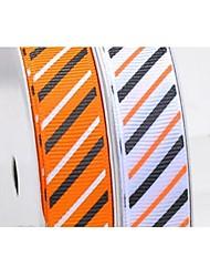 3/8 Inch Halloween Series Diagonal Stripes Pattern Rib Ribbon Printing Ribbon- 25 Yards Per Roll (More Colors)