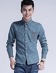 Men's Long Sleeve Shirt , Cotton/Cotton Blend Casual Plaids & Checks