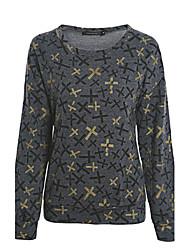 Mulheres O-pescoço Golden Cross impressão Sweateshirts