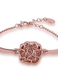 Fresh Simple Women's Rose Rhinestones Rose Gold Plated Tin Alloy Chain & Link Bracelet(Rose Gold)(1Pc)