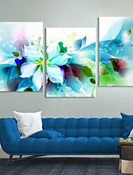 doek set van 3 moderne abstracte blauwe bloemen op gespannen doek klaar om op te hangen